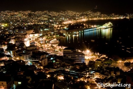 Acapulco City Night Skyline