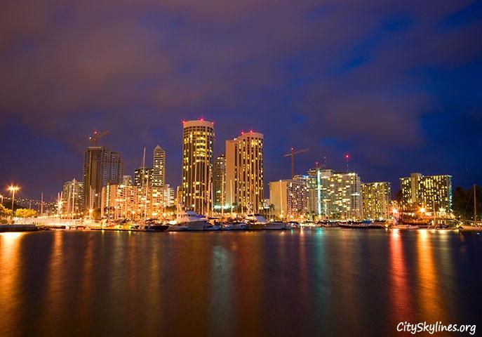 Honolulu Night Skyline, Hawaii