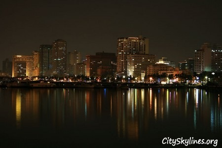 Manila Bay City Skyline, Overlooking The Water