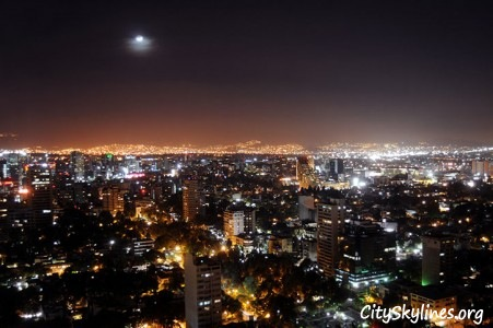 Mexico City at Night, Moon Backdrop