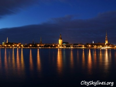 Riga City Night Skyline