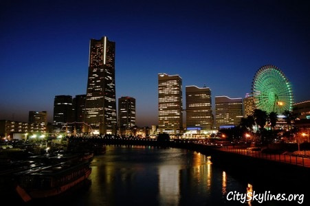 Yokohama Night City Skyline