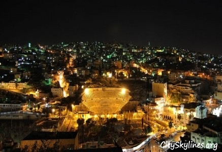 Amman City Skyline At Night, Jordan