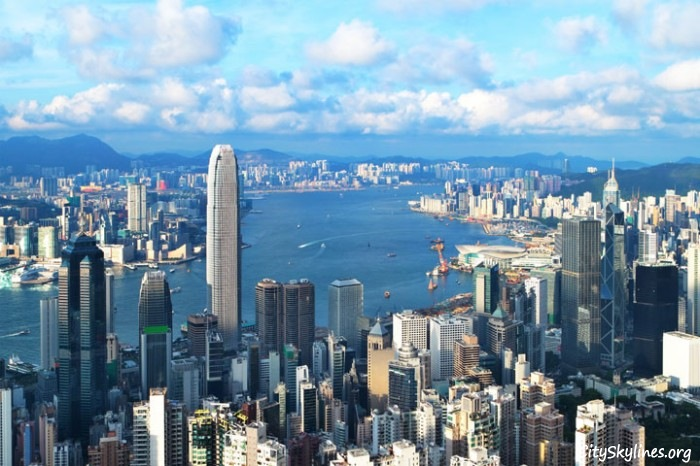 Hong Kong, China - Water Overlook with Mountain Backdrop