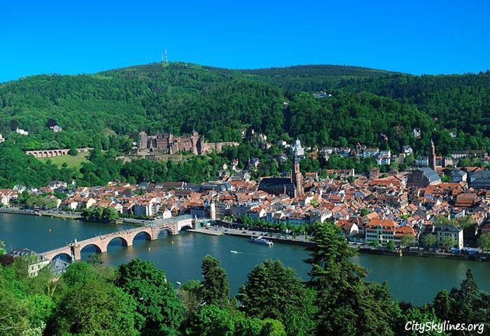 Heidelberg Skyline, Germany - Neckar River Overlook
