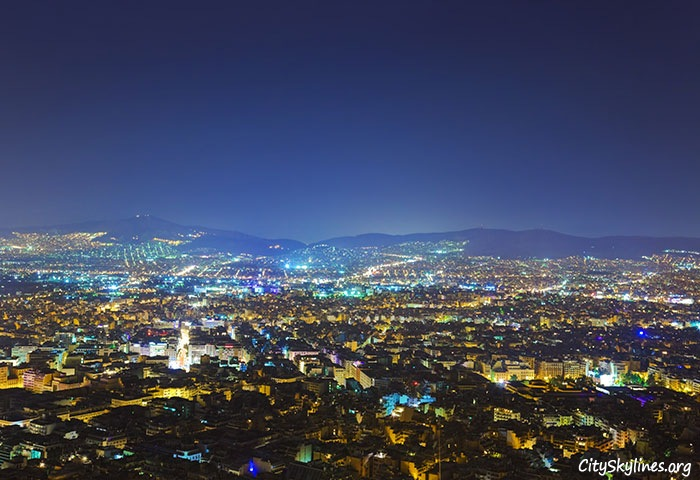 Athens City Skyline, Greece - Night Mountain View