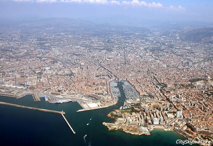 Marseille City Skyline, France - Sky Aerial View