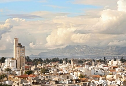 Nicosia City Skyline, Cyprus - Mountain Backdrop