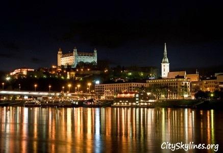 Bratislava City Skyline at Night, Slovakia