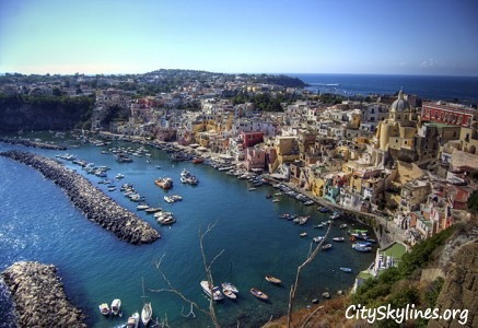 Procida Skyline in the Flegrean Islands, Italy