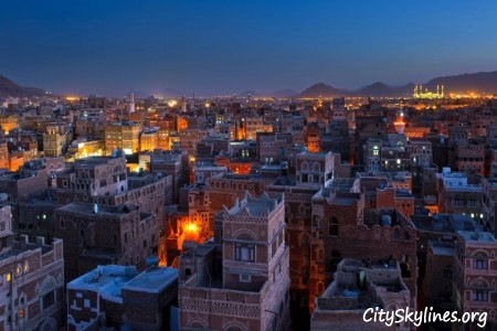 Sana'a City at Night, Building Top View with Mountain Backdrop