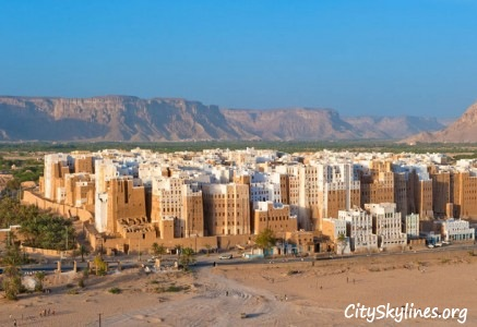 Shibam Hadhramaut City Skyline, Yemen - Mountain Backdrop