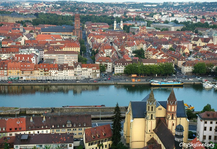 Würzburg City Skyline, Germany - Canal View