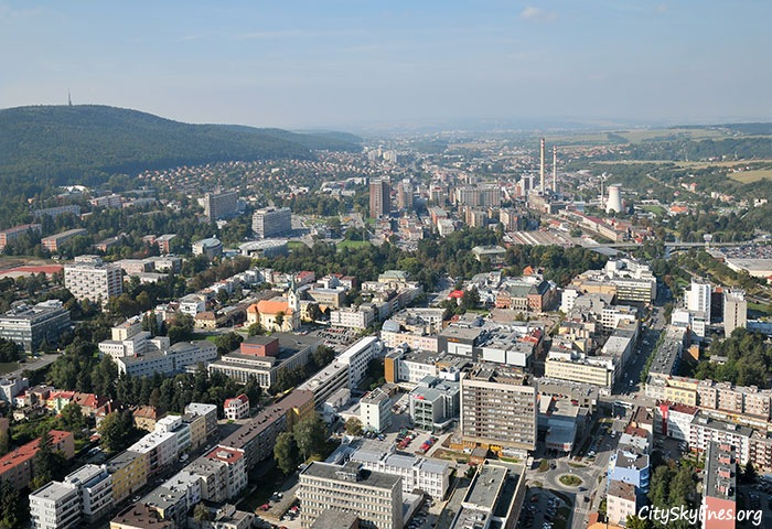 Zlín City Skyline, Mountain Backdrop