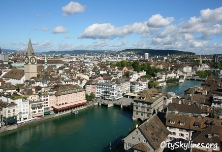 Zurich City Skyline, Switzerland - Canal View