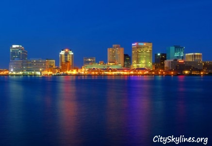 City of Norfolk, VA Skyline - Night Lights