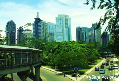 Viewing Jakarta's Skyline of Sudirman area from street level