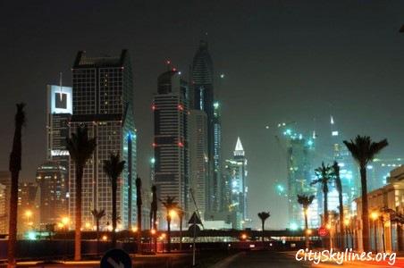 Dubai City Skyline at night - Street View