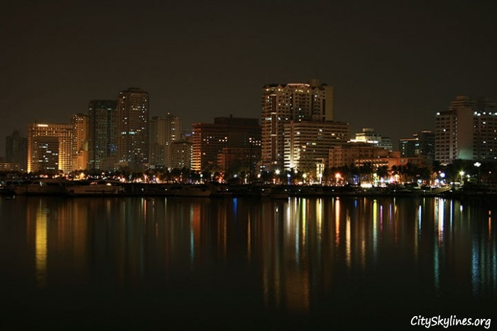 Manila Bay City Skyline, Overlooking The Water