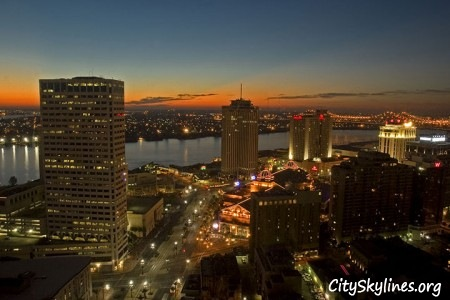 New Orleans City Skyline, Overlooking River