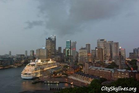 Sydney skyline with cruise ship