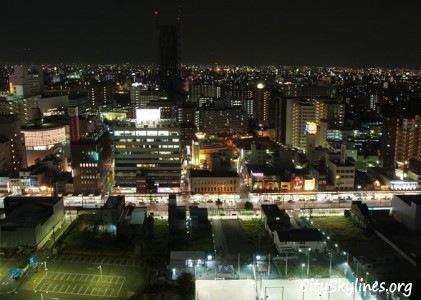 Osaka Night City Skyline