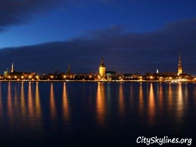 Riga City Night Skyline