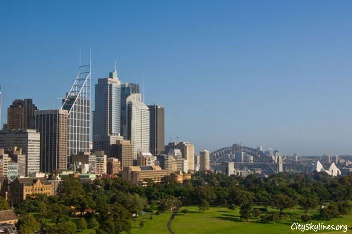 Sydney City Skyline, Overlooking Park