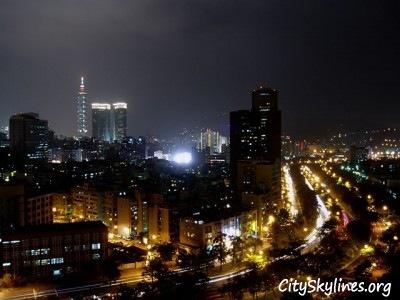 Taipei Night City Skyline