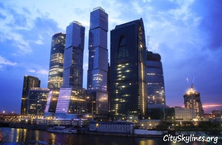 City Skyline of Moscow at Night