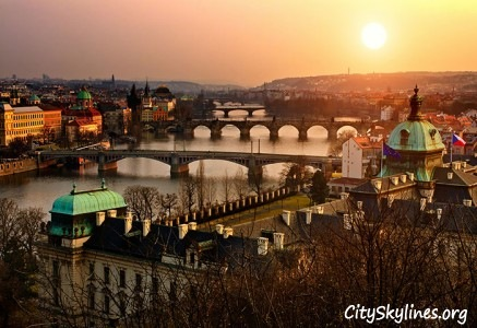 Prague City, Charles Bridge at Sunset