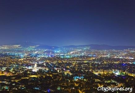 Athens City Skyline, Greece - Night Mountain View