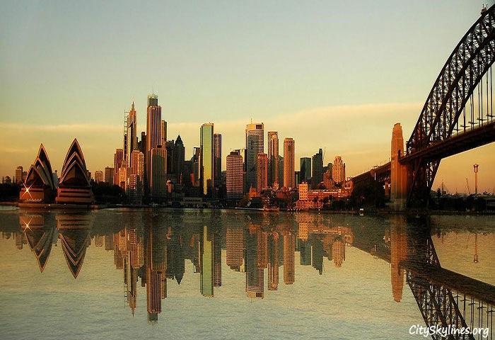 Sydney Skyline - Water Reflection, Australia