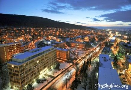 Zlín City Skyline - At Night