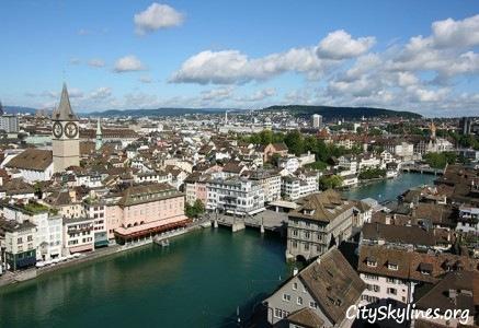 Zurich City Skyline, Switzerland - Canal View