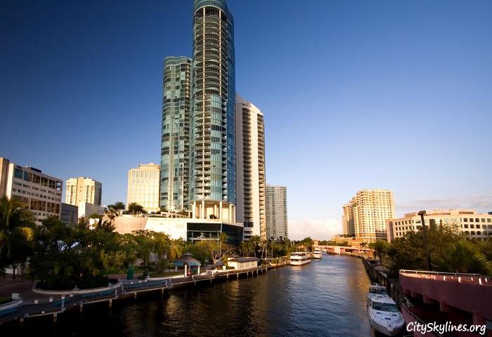 Ft. Lauderdale City Skyline - Riverbank