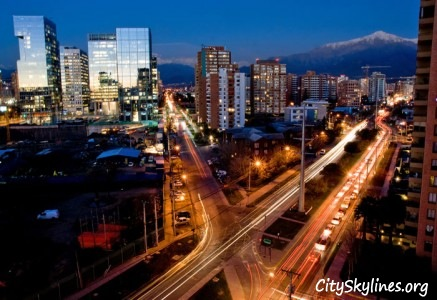 Santiago Chile Skyline at Night with the Andes Mountains