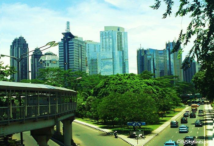 Viewing Jakarta's Skyline of Sudirman area from street level